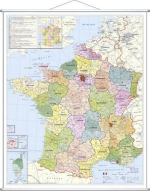 Stiefel Wandkarte Großformat Frankreich, Postleitzahlen, mit Metallstäben