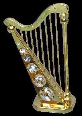 Goldfigur Harfe mit Swarovski Kristallen