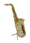 Goldfigur Saxophon mit Swarovski Kristallen