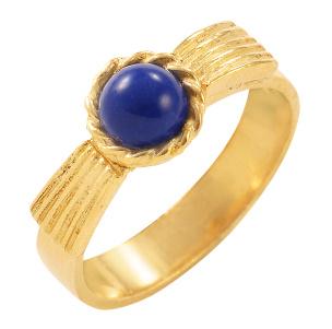 Ring in Silber 925/- goldplattiert mit einem Lapislazuli. Größe 16