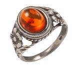 Ring in Silber 925/- Antik mit einem Bernstein