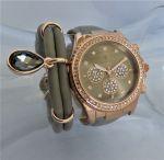 Damen-Armbanduhr  rosé vergoldet im Chronolook