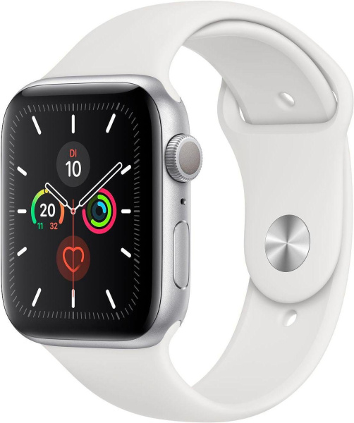 "APPLE Smart Watch ""Watch Series 5"" (GPS, 44 mm, Aluminiumgehäuse, silber/weiß)"