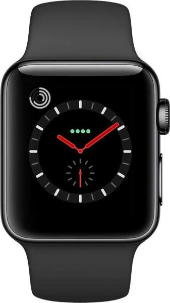 """APPLE Smart Watch """"Watch Series 3"""" (GPS, Cellular, 38 mm Edelstahlgehäuse, Space Schwarz/Schwarz)"""