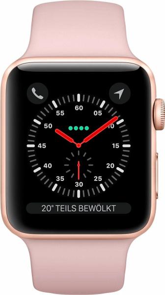"APPLE Smart Watch ""Watch Series 3"" (GPS, Cellular, 42 mm Aluminiumgehäuse, Goldfarben\/Sandrosa)"