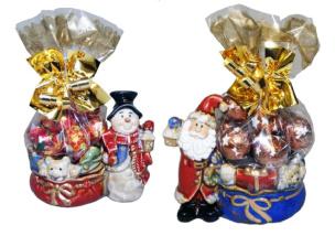 Teelichthalter Weihnachtsmann und Schneemann aus Porzellan, 2er-Set