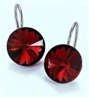 Ohrhänger aus Silber Si925 mit Swarovski-Kristallen rot