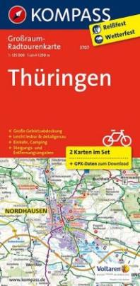 Kompass Großraum-Radtourenkarte Thüringen, 2 Bl.