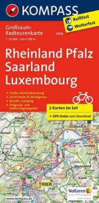 Kompass Großraum-Radtourenkarte Rheinland-Pfalz - Saarland - Luxembourg, 2 Bl.