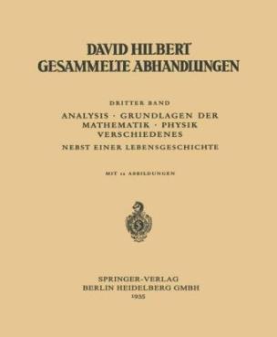 Dritter Band: Analysis · Grundlagen der Mathematik · Physik Verschiedenes