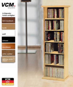 """CD-Regal """"Vostan - eiche-rustikal"""" für 150 CDs"""