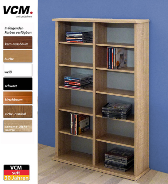 cd dvd regal ronul sonoma eiche s gerau 300 cds ohne glast r. Black Bedroom Furniture Sets. Home Design Ideas